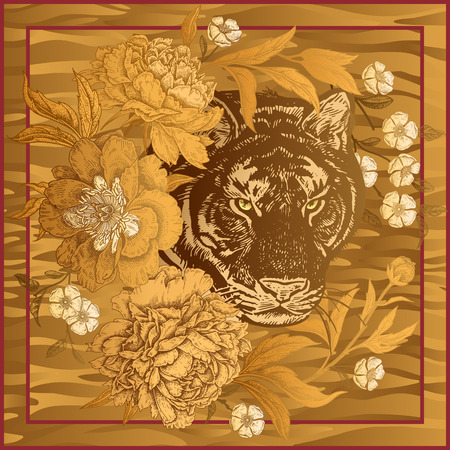 Garden peonies and wild tiger. Template for design scarf or pillow. Gold foil print with animals and flowers on gold background. Wildlife motifs. Vector illustration. Beast style. Illustration