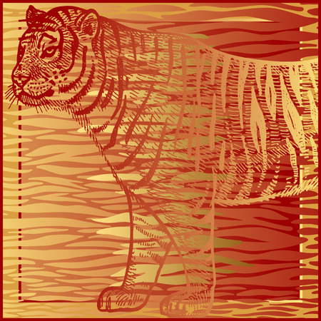 Animal print. African tiger and fur stripes. Vector illustration. Print gold foil and red color on abstract background. Luxury pattern. Template for design scarf or pillow. Modern beast style Ilustrace
