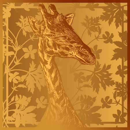 Head African animal giraffe close-up and geranium flowers and leaves. Vector illustration. Floral gold foil background. Luxury pattern. Template for design scarf or pillow. Modern beast style.