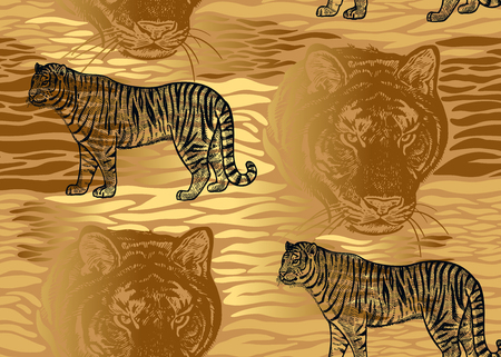 Tiger, stripes and tiger head close-up seamless pattern. Motives of animals of wildlife. Modern decoration. Beast style. Vector illustration. Template of paper, textile, wallpaper. Gold foil and black