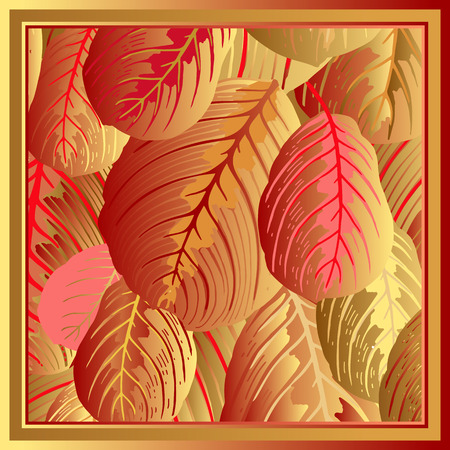 Foliage. Leaves of tropical tree. Vector illustration. Floral background. Luxury pattern. Template for design scarf or pillow. Modern style. Red and gold foil