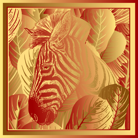 Animal print. Head African zebra close-up and striped tropical leaves. Vector illustration. Print gold foil on red background. Luxury pattern. Template for design scarf or pillow. Modern beast style. Ilustrace