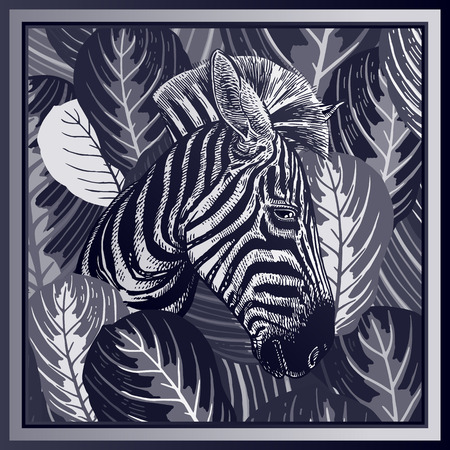 Animal print. Head of African zebra close-up and striped tropical leaves. Vector illustration. Black and white background. Luxury pattern. Template for design scarf or pillow. Modern beast style. Ilustrace