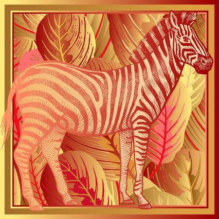 Animal print. African zebra close-up and striped tropical leaves. Vector illustration. Print gold foil on red background. Luxury pattern. Template for design scarf or pillow. Modern beast style.