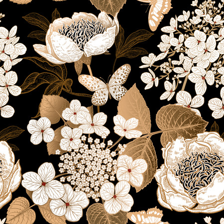 Peonies, hydrangea and butterfly. Floral vintage seamless pattern. Gold and white flowers, leaves, branches on black background. Oriental style. Vector illustration art. Template of textiles, paper.