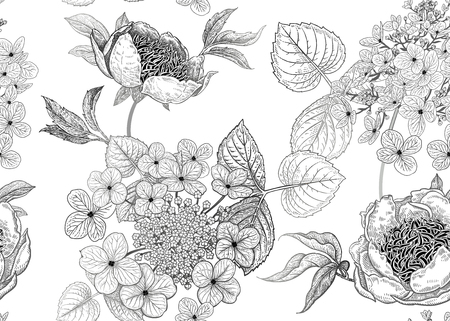 Peonies and hydrangea. Floral background. Vintage seamless pattern. Black and white. Bouquets of flowers, leaves and branches. Oriental style. Vector illustration art. Template of textiles, paper.