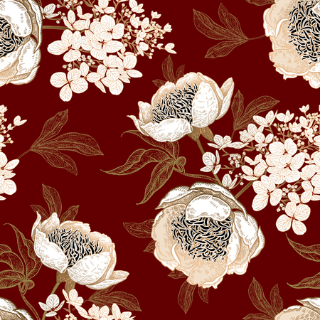 Peonies and hydrangea. Floral vintage seamless pattern. Gold and white bouquets of flowers, leaves, branches on red background. Oriental style. Vector illustration art. Template of textiles, paper. Ilustrace