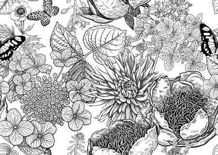 Peonies, hydrangea, aster and butterfly. Floral background. Vintage seamless pattern. Black and white. Bouquets of flowers, leaves and branches. Oriental style. Vector illustration art. Archivio Fotografico - 126448487