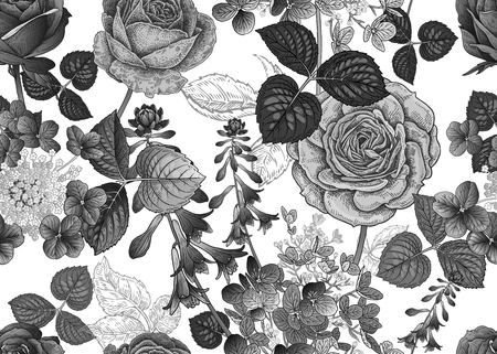 Field and garden flowers. Floral seamless pattern. Roses and hydrangeas. Vector illustration. Template for fashion industry, interior decoration, wrapping paper, wallpaper. Vintage. Black and white.