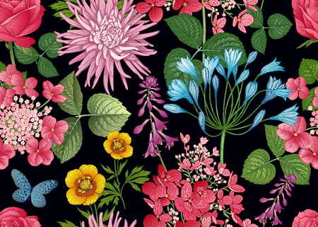 Field and garden flowers. Floral seamless pattern. Asters and hydrangeas. Vector illustration. Template for fashion industry, interior decoration, wrapping paper, wallpaper. Vintage. Victorian style.