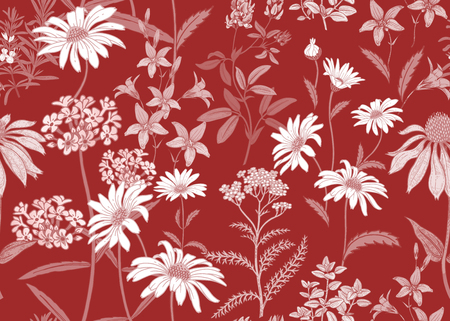 Seamless summer pattern with wild flowers chamomile, herbs, bells. Floral background for printing on wallpaper, paper, textiles, fabrics. Hand drawing sketch. Fashion illustration. Red and white. Ilustrace