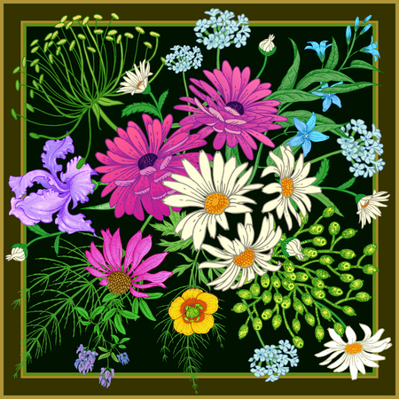 Decoration with wildflowers in frame. Scarf or pillow for the interior. Flower pattern. Bouquet of chamomile, iris, aster, herbs and berries on a black background. Vector floral illustration. Vintage.