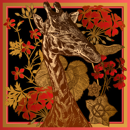 Head African animal giraffe close-up and red geranium flowers and leaves. Vector illustration. Floral background. Luxury pattern for design scarf or pillow. Modern beast style. Red, black, gold foil