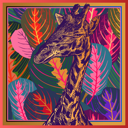 Head African animal giraffe close-up and  leaves tropical tree. Vector illustration. Floral background. Luxury pattern. Template for design scarf or pillow. Modern beast style. Иллюстрация