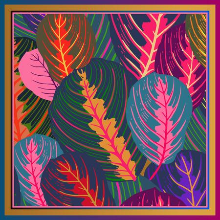 잎. 열 대 나무의 잎입니다. 벡터 일러스트 레이 션. 꽃 배경입니다. 여름 화려한 패턴입니다. 디자인 스카프 또는 베개를 위한 템플릿입니다. 현대적인 스타일.
