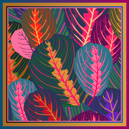 Foliage. Leaves of tropical tree. Vector illustration. Floral background. Summer colorful pattern. Template for design scarf or pillow. Modern style. 일러스트