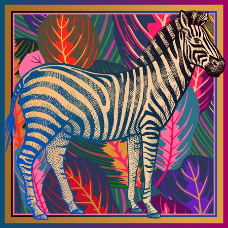 Huella animal. Primer plano de cebra africana y hojas tropicales rayadas. Ilustración de vector. Fondo abstracto abigarrado a todo color. Patrón de lujo. Plantilla para bufanda de diseño, almohada. Estilo bestia moderno Ilustración de vector