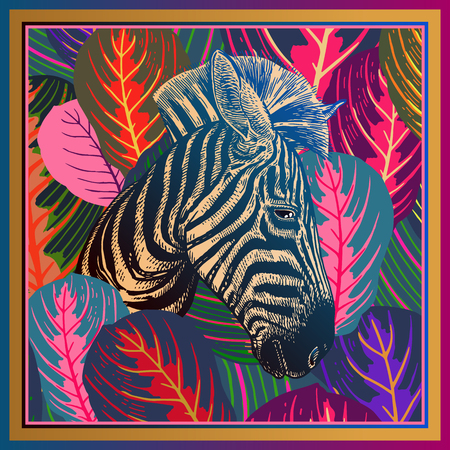 Animal print. Head African zebra close-up and striped tropical leaves. Vector illustration. Full color motley abstract background. Luxury pattern. Template for design scarf, pillow. Modern beast style Иллюстрация