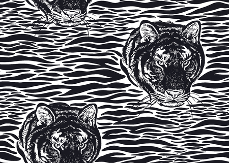 Tiger stripes and tiger head close-up seamless pattern. Motives of animals of wildlife. Modern decor Beast style. Vector illustration. Template for paper, textile, wallpaper. Black and white print
