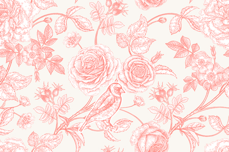 Fiori da giardino rose, peonie e rosa canina, uccelli sui rami. Reticolo senza giunte dell'annata floreale. Rosso e bianco. Stile vittoriano. Illustrazione vettoriale. Modello per tessuti di lusso, carta, carta da parati. Vettoriali