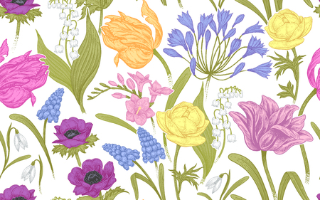 Spring flowers. Flower vintage seamless pattern. Oriental style. Tulips, buttercups, muscari, freesia, anemones, lily of the valley, snowdrops, African lily. Background for textiles, paper, wallpaper.
