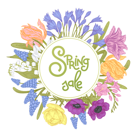 Flower card with the inscription Spring Sale surrounded by spring flowers tulips, gypsums, buttercups, anemones and others. Vector illustration art. Vintage style.