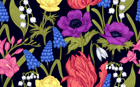Spring flowers. Flower vintage seamless pattern. Oriental style. Tulips, buttercups, muscari, freesia, anemones, lily of the valley. Colorful plants on black background for textiles, paper, wallpaper.