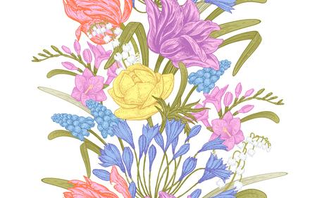 Frühlingsblumen. Nahtloses Muster der Blumenweinlese. Orientalischer Stil. Tulpen; Butterblumen; Muscari; Freesie; Afrikanische Lilie; Maiglöckchen. Bunter Hintergrund für Textilien; Papier; Hintergrund. Vektorgrafik