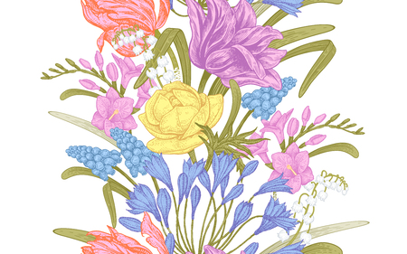 Spring flowers. Flower vintage seamless pattern. Oriental style. Tulips; buttercups; muscari; freesia; African lily; lily of the valley. Colorful background for textiles; paper; wallpaper.