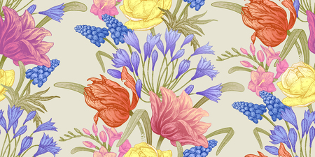Spring flowers. Flower vintage seamless pattern. Oriental style. Tulips, buttercups, hyacinth, freesia, African lily. Colorful background for textiles, paper, wallpaper. Illustration