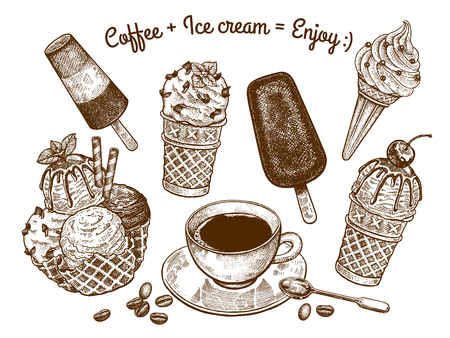 """Odmiany lodów i filiżanka kawy z łyżeczką deserową. Napis """"kawa i lody cieszą się"""". Rysunek odręczny. Grafika czarno-biała. Zabytkowy styl. Sztuka ilustracji wektorowych."""