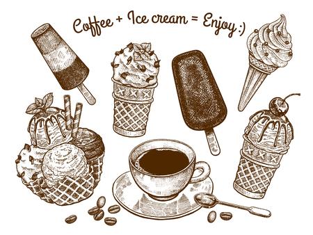 """Variationen von Eis und eine Tasse Kaffee mit einem Dessertlöffel. Die Aufschrift """"Kaffee und Eis ist Genuss"""". Handzeichnung. Schwarz-Weiß-Grafiken. Vintage-Stil. Vektorillustrationskunst."""