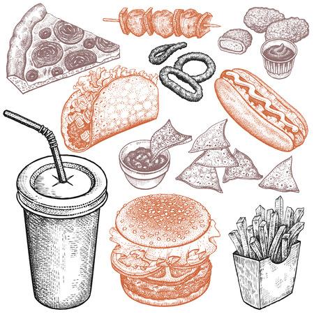 Fast-Food-Set. Vorlage für die Menügestaltung. Vektor-Illustration.
