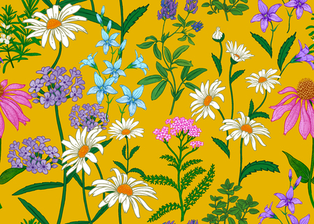 Seamless summer pattern. Wild flowers chamomile, herbs, bells. Floral decoration for printing on wallpaper, paper, textiles, fabrics. Hand drawing sketch. Fashion illustration. Yellow background.