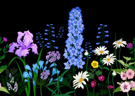Bordecon flores silvestres. Patrón de verano sin fisuras con flores de campo sobre fondo negro. Fondo floral para la impresión de papel tapiz, papel, textiles, telas. Boceto de dibujo a mano. Ilustración de moda.
