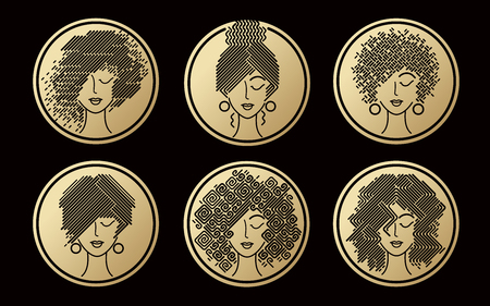 Womens hairstyles gold icons. Set of abstract girls faces. Vector illustration for design packing shampoo, hair cosmetics, hairdressing signage, flyers, advertising. Illustration
