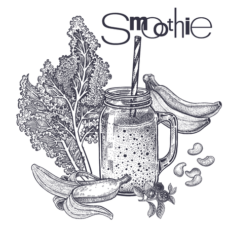 Smoothies. Healthy diet food. Vegetables cabbage leaf, fruits of bananas, cashew nuts for preparation of beverage. Black and white. Hand drawing. Vintage engraving. Vector illustration for design menus