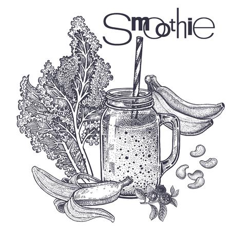 Smoothies. Healthy diet food. Vegetables cabbage leaf, fruits of bananas, cashew nuts for preparation of beverage. Black and white. Hand drawing. Vintage engraving. Vector illustration for design menu