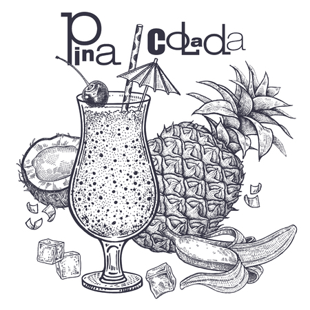 Smoothies. Healthy diet food. Fruit for the preparation of Pina Colada and drink in the jar. Pineapple, bananas and coconut. Black and white. Hand drawing. Vintage engraving. Vector illustration art