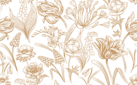 Spring flowers. Flower vintage seamless pattern. Oriental style. Tulips, buttercups, muscari, freesia, anemones, lily of the valley, snowdrops, African lily. White and gold luxury background.