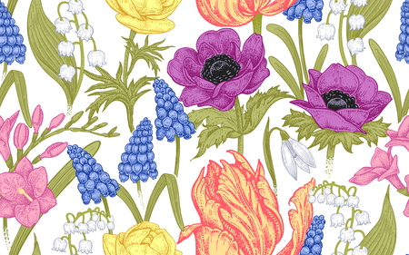 Spring flowers. Flower vintage seamless pattern. Oriental style. Tulips, buttercups, muscari, freesia, anemones, lily of the valley, snowdrops. Colorful background for textiles, paper, wallpaper.