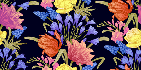 Spring flowers. Flower vintage seamless pattern. Oriental style. Tulips, buttercups, hyacinth, freesia, African lily. Colorful background for textiles, paper, wallpaper. 일러스트