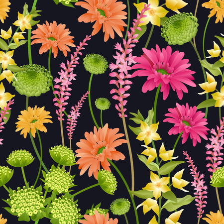 Floral spring background. Seamless pattern with spring flowers. Vector illustration. For wallpaper, paper, textiles, fashion industry, interior design, print on fabrics. Plants and herbs. Vintage.