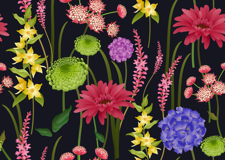 Floral spring seamless pattern. Spring flowers on black  background. Vector illustration. For wallpaper, paper, textiles, fashion industry, interior design, print on fabrics. Plants and herbs. Vintage 向量圖像