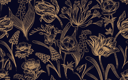 Spring flowers. Flower vintage seamless pattern. Oriental style. Tulips, buttercups, muscari, freesia, anemones, lily of the valley, snowdrops, African lily. Gold and black luxury background.