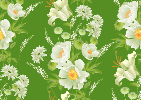 Garden flowers. Floral seamless pattern. Peonies, asters, branches, foliage, herbs on green background. Vector illustration for fashion industry, paper, wallpaper, textiles. Victorian style. Vintage.