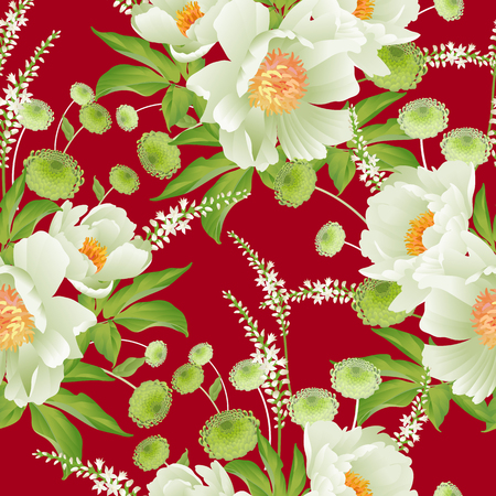 Garden flowers. Floral seamless pattern. Peonies, asters, branches, foliage, herbs on red background. Vector illustration for fashion industry, paper, wallpaper, textiles. Victorian style. Vintage.