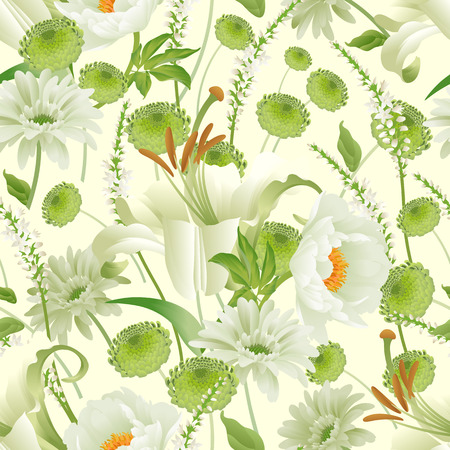 Garden spring flowers. Seamless pattern. Peonies, asters, lily, branches, foliage, herbs floral background. Vector illustration for fashion industry, paper, wallpaper. Victorian style. Vintage.