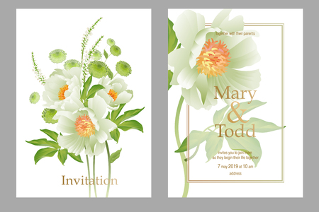 Cards wedding invitations set. Decoration with bouquet of garden flowers peonies, aster on white background. Floral vector illustration. Vintage. Victorian style. White and green color Ilustracja