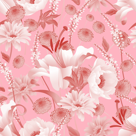 Garden flowers. Seamless pattern. Peonies, asters, lily, branches, foliage, herbs floral background. Vector illustration for fashion industry, paper, wallpaper. Vintage Victorian style. White and pink